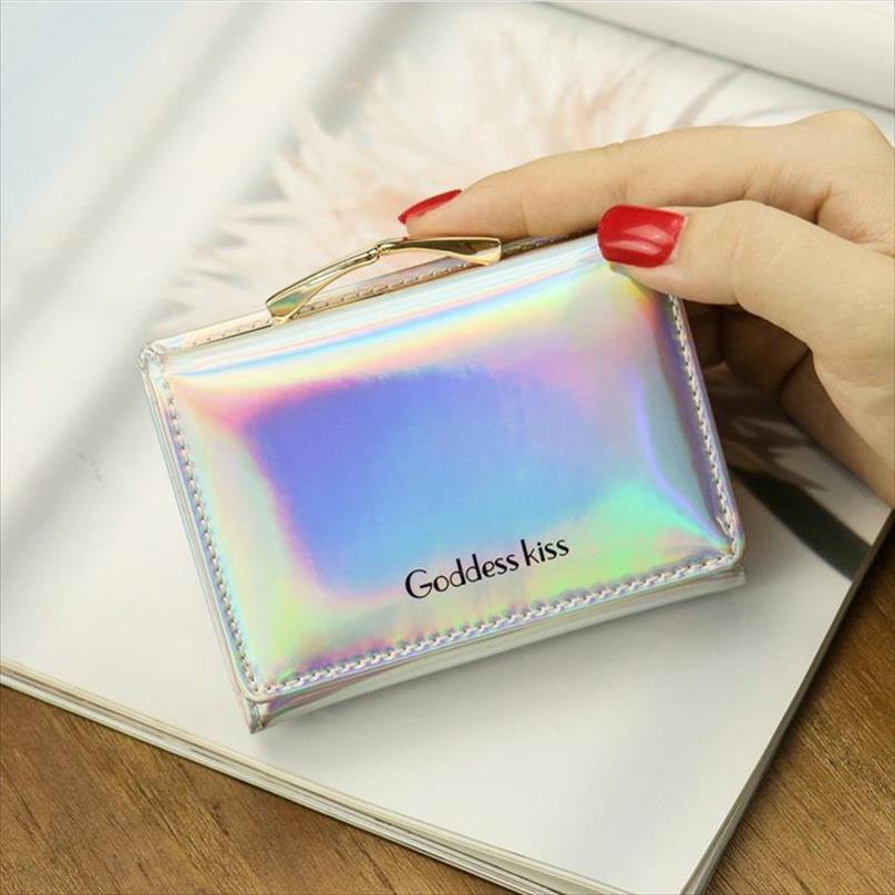 2020 Nuevas carteras de mujeres holográficas láser cortas Tripold Damas Monedero con moneda Pocket PU Cuero Femenino Pequeño Money Wallets
