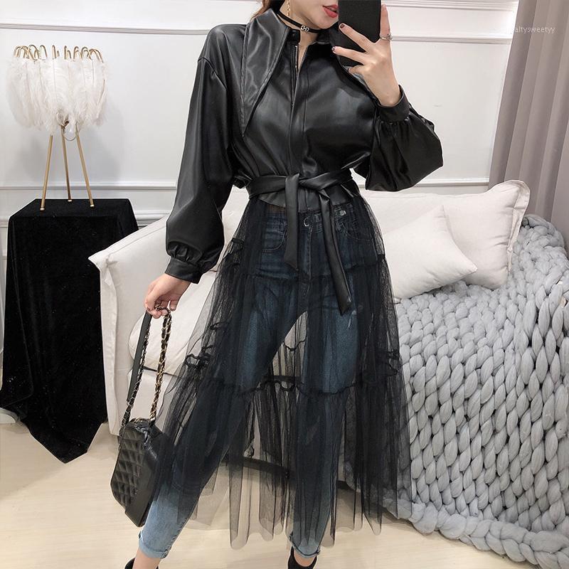 2020 Bahar Yeni Siyah Ceketler Kadın Moda Katı Renk Uzun Örgü Gazlı Bez Dikiş Kemer Kadın Ceket Ile PU Deri Ceket1