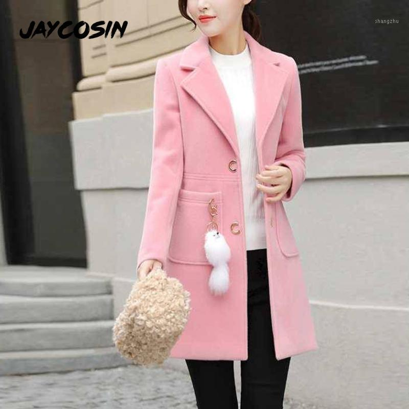 JAYCOSIN Women's Solid Color Single-Breasted Coat Ladies Autumn Winter Simple Wool Maxi Long Coat Female Outerwear1
