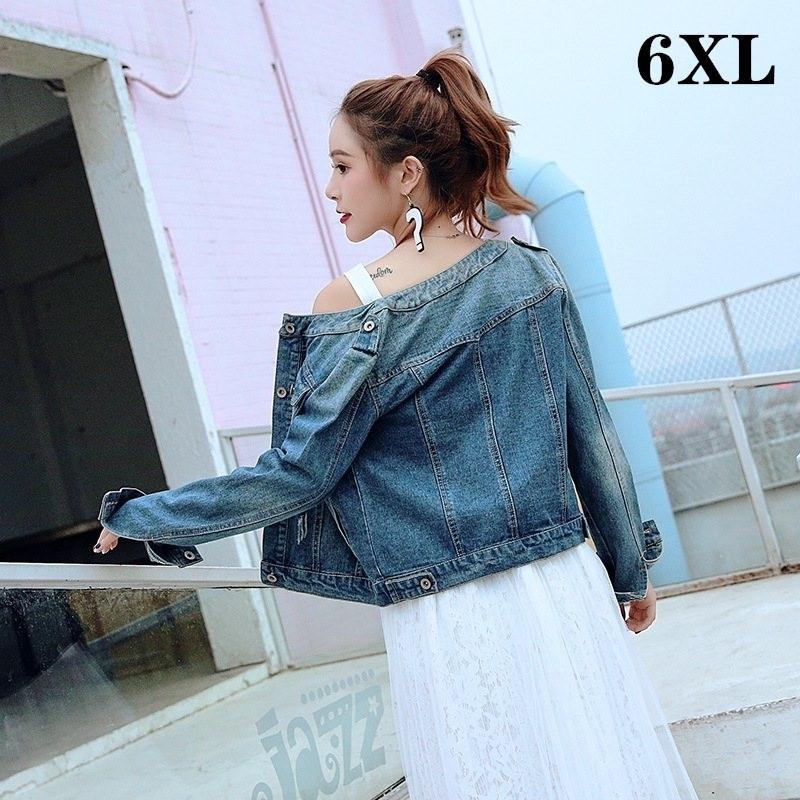 Sonbahar Bahar 6XL Kısa Kadın Denim Jean Ceket Büyük Boy Vintage Pamuk Büyük Boy Denim Ceketler Kadın Üst Kat Artı Boyutu 201026