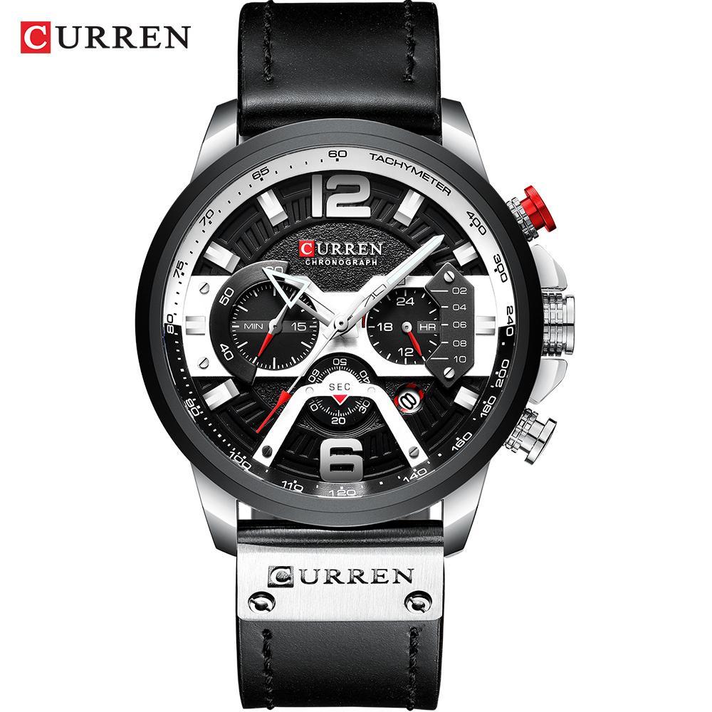 Curren Watch Hommes Montres d'affaires Orologio Uomo Cuir Bracelet En cuir Quartz Quartz Montre Zegarek Meski Reloj Hombre Homme Cadeau LJ201201