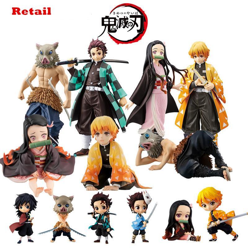 Kimetsu Hiçbir Yaiba Şekil Nezuko Tanjirou Zenitsu Anime Şekil iblis Slayer Action Figure PVC Koleksiyon Model Oyuncaklar Hediyeler 6.5-18 cm Q1217