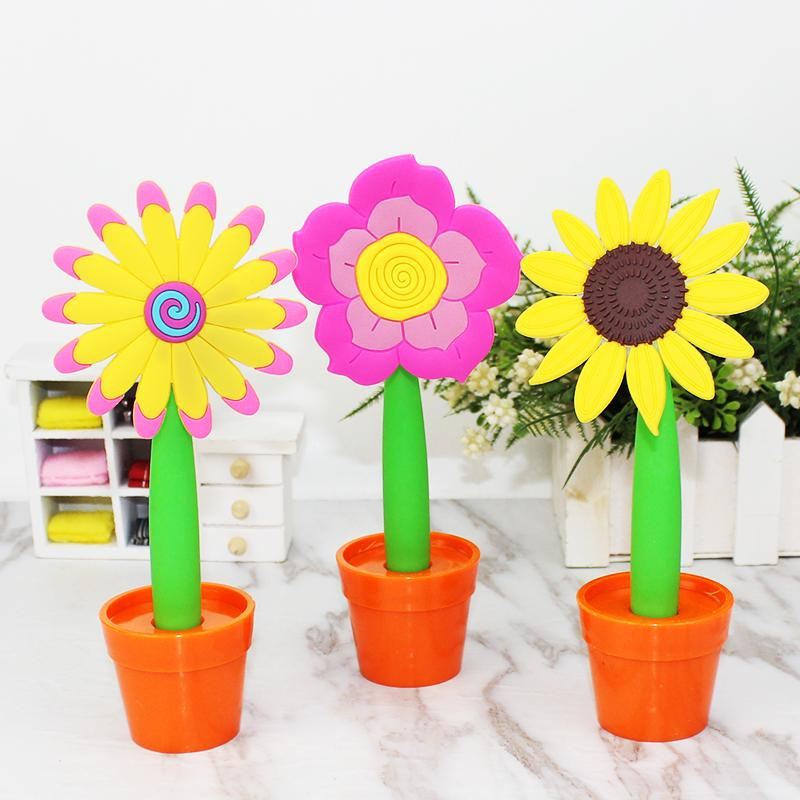 2021 new hot sell wholesale Creative Stationery Sun Flower shape Pen Soft Potted shape Ballpoint Pen Cartoon Cute Student Prize Gift