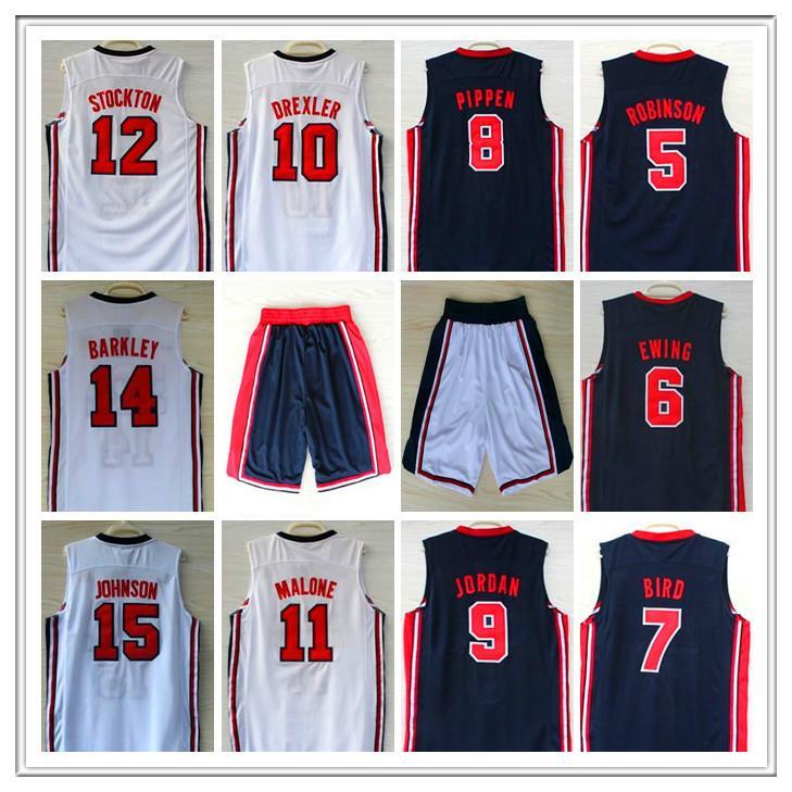 Retro 1992 Dream Jersey Robinson Ewing Bird Pippen Drexler Malone Stockton Johnson Barkely Michael Basketball Jerseys classico