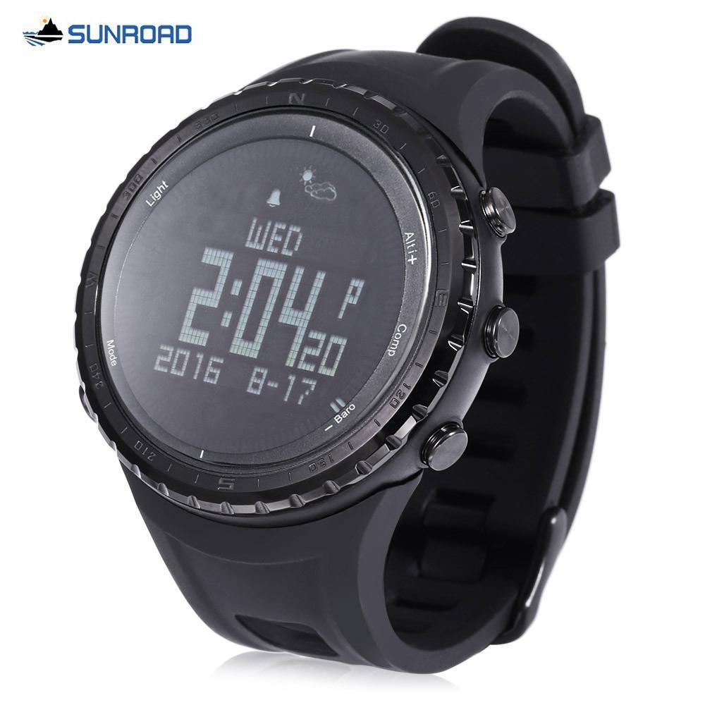 SUNROAD FR803 Bluetooth 4.0 Sport intelligent montre étanche vie Podomètre Thermomètre Boussole extérieure pour Android IOS Wristwatch B