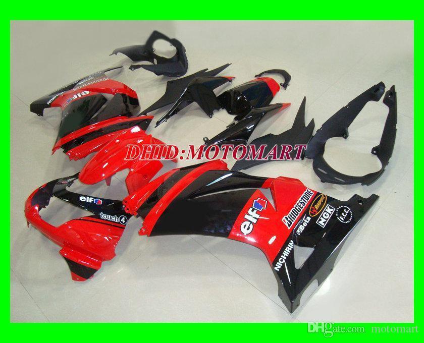 Red Black Fairing Kit para Kawasaki Ninja ZX250R ZX 250R 2008 2010 2012 EX250 08 09 10 11 12 Feedings de Molde de Injeção