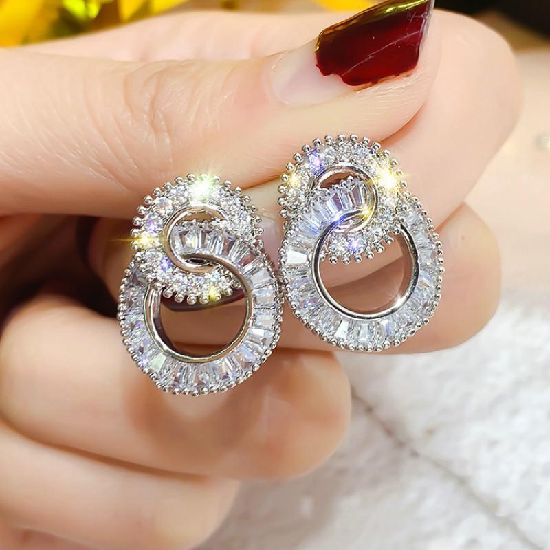 Симпатичные Bling Zircon Женщины Серьги Гребовые Серьги Мода Новый Круг круглые Корейские Серьги для Женщин Ювелирных Изделий Подарок
