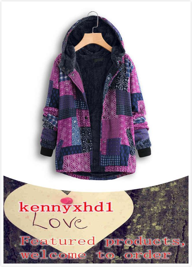 Nuove grandi dimensioni Donne autunno e inverno Plus Velvet Women Cotton Coat Coat Coat Etny Stampa Cappotto
