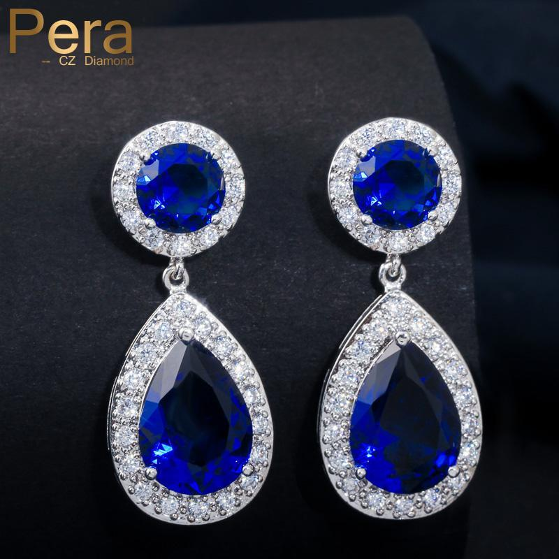 Pera Elegant Big Water Drop Design Weißgold Farbe Runde Royal Blue Cubic Zirkonia Stein Mode Frauen Ohrringe Schmuck E026