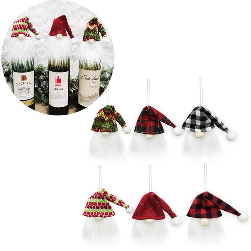 Navidad gnomo vino botella cubierta toppers santa sombrero navidad árbol colgando decoración festival fiesta decoración jk2011ph