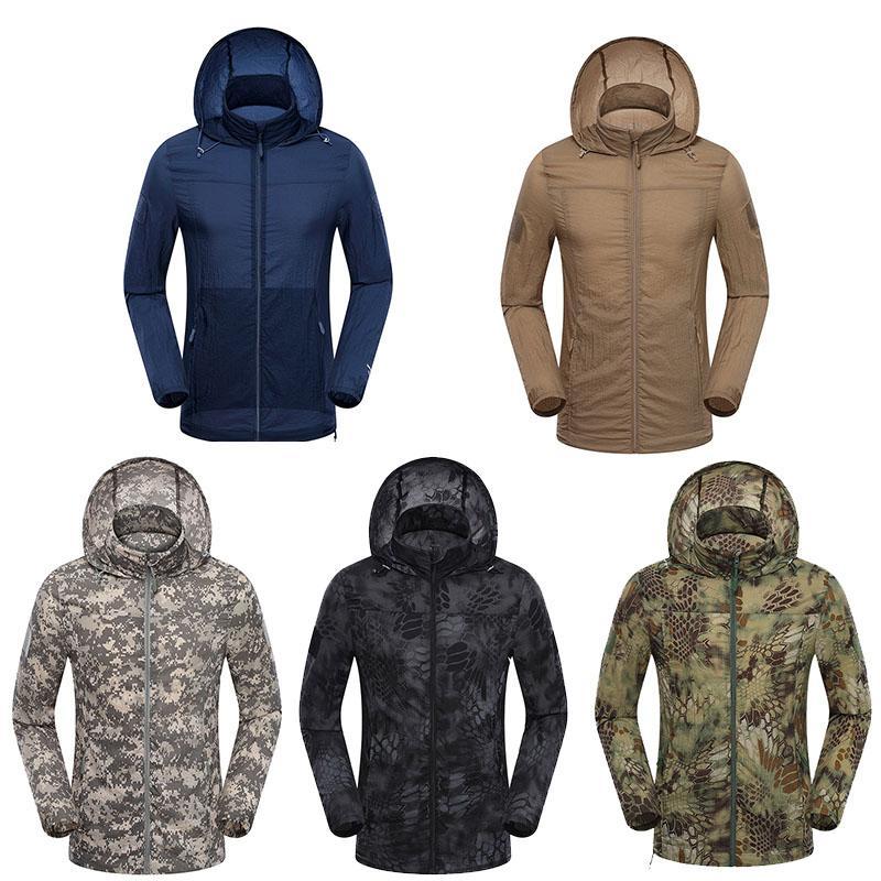 Chasse en plein air Tir de chasse Alpinisme Vêtements Randonnée Vêtements coupe-vent Camouflage Léger Ultra Thin Windbreaker Veste No05-123