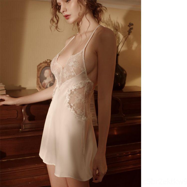 64LN Pajamas шеи выладьте с кружевными дамами нижнее белье женские пояски одежда глубоко в марлевые сексуальные женские