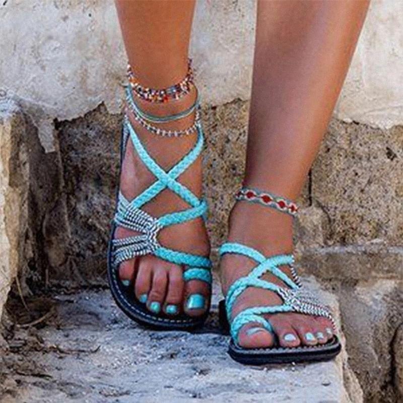 2020 Новые Дамы Сандалии Летние Женщины Повседневная Римская Обувь Круглый Носок Скольжение на тканых Веревка Узлы Пляж Повседневная Удобные Плоские Обувь # GD7V