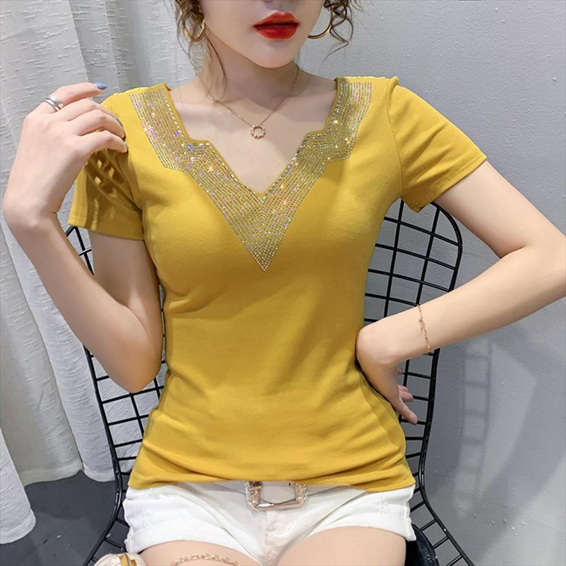 Женская одежда Новый 2020 летний с коротким рукавом женщин футболка мода повседневная короткая рукава V шеи горячие буровые футболки женские блусы