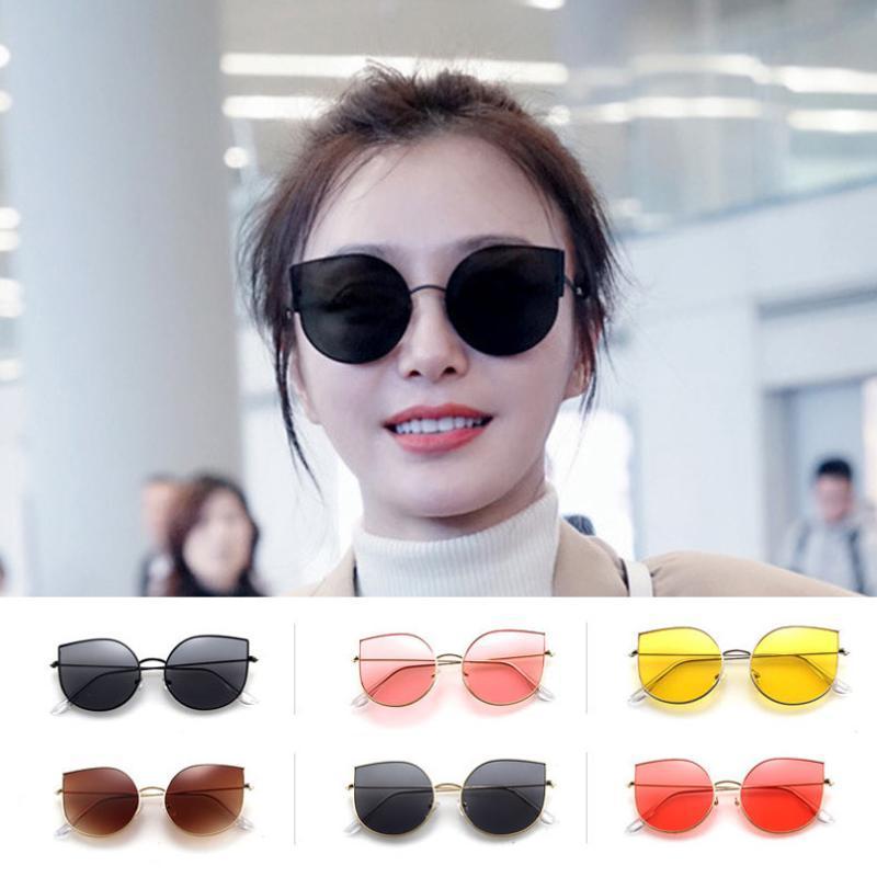 Neue Mode Sonnenbrille Vintage Cat Frame Gläser Brillen Klassisch Designer Gafas UV400 Eye Metal Frauen Sun Spiegel Gläser Phhbd