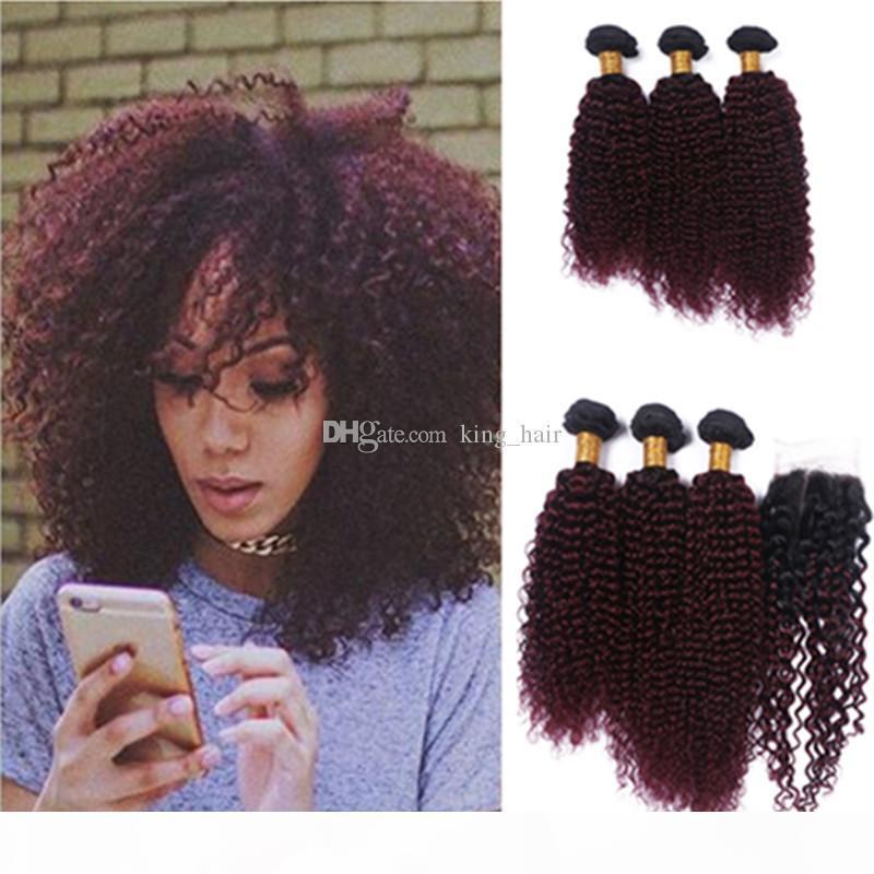 Nueva llegada de vino rojo # 1b 99J paquetes de cabello rizado Kinky con cierre de encaje Borgoña Ombre rizado pelo rizado con cierre 4pcs lote