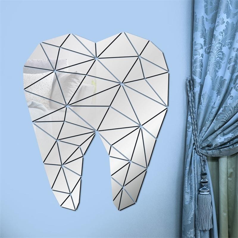 Cuidado dental En forma de diente Acrílico Espelado con espejos Dentista Clínica Estomatología 3D Wall Art Decal Ortodoncia Oficina Decoración 201201
