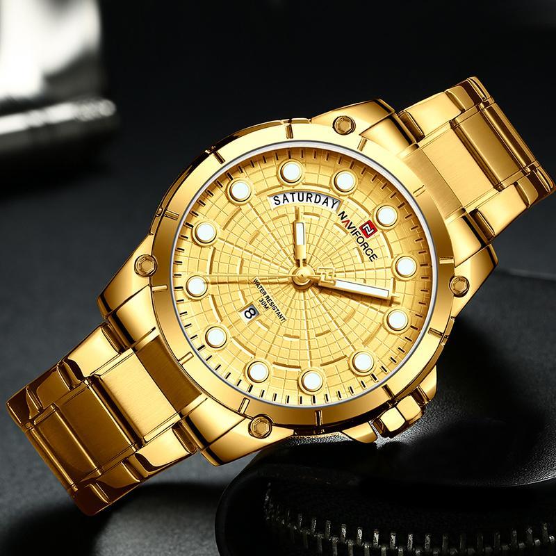 Naviforce Top Marca Relojes de Lujo Hombres Acero inoxidable Relojes impermeables Hombres Dorado Cuarzo Muñeca Reloj Relogio Tyretger