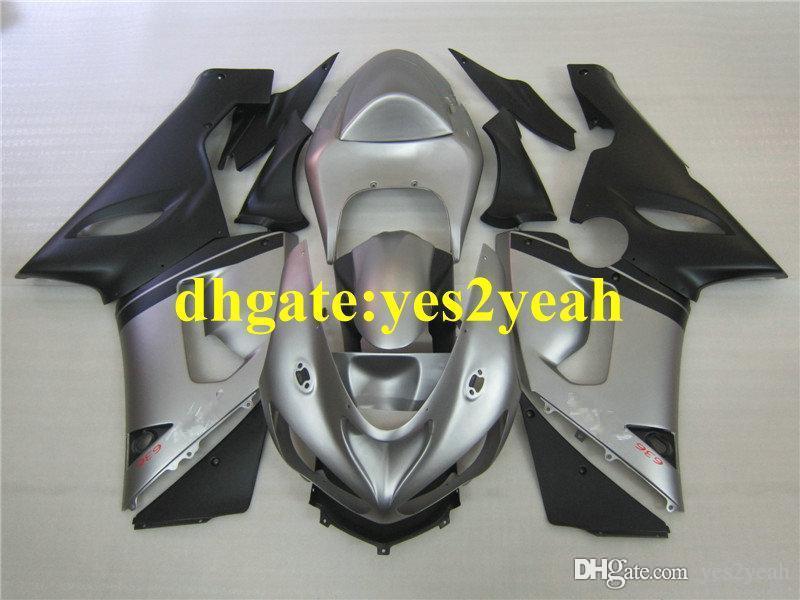 Silver Black Fairing Body Kit för Kawasaki Ninja ZX6R 05 06 ZX-6R 636 Bodywork ZX 6R 2005 2006 Motorcykel Fairings Set HP35