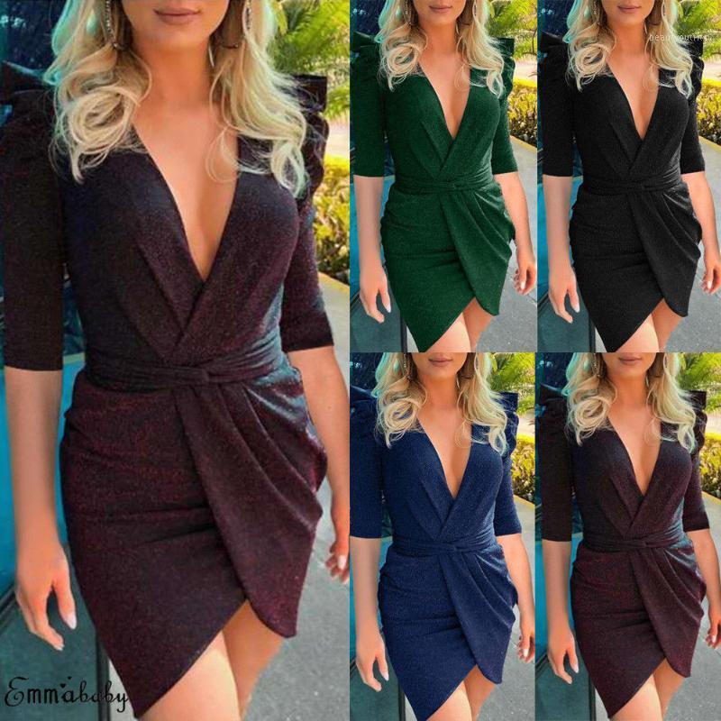 Hirigin Newest Dress Sexy Women 2019 Spring Vestidos Long Sleeve Bodycon Mini Dress V Neck Shiny Ladies Evening Party1