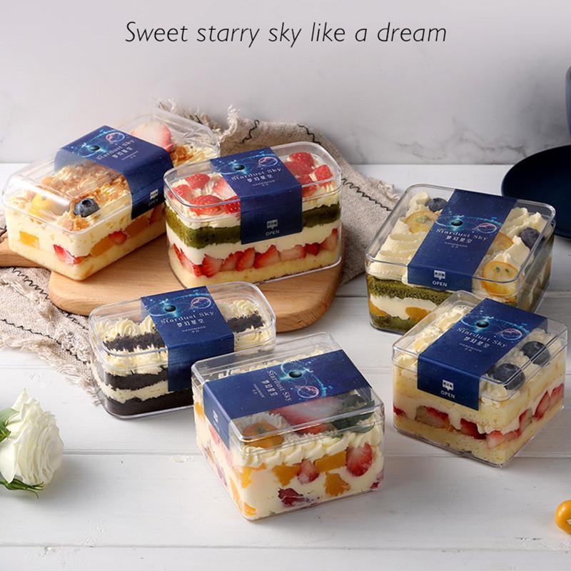 25шт квадратная прозрачная жесткая пластиковая коробка на день рождения свадьба рождественские вечеринки вручает конфеты торт подарочные коробки десертные коробки с наклейкой