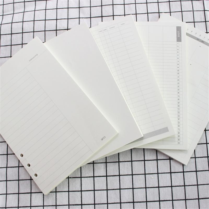 المفكرة B5 9 ثقوب دوامة فضفاضة ورقة مجلة كبيرة مخطط ورقة الداخلية المنقطة دفتر حشو صفحات C15 D301