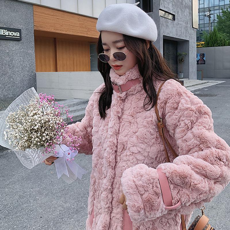 Женский Мех из искусственного искусственного здания Люкивеев сладкий розовый пиджак женщины 2021 мягкие плюшевые пальто женщины корейский стиль стойки воротник короткое пальто