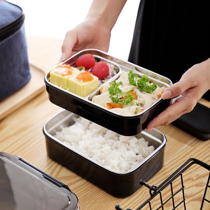 304 aço inoxidável de aço inoxidável lancheira de água aquecimento dupla almoço conveniente recipiente de alimentos estudantil com saco de isolamento t200710