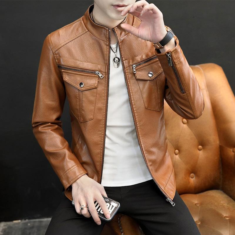 Automne coréen Beautiful Tendance Collier PU Veste PU Slim Polyatile Hommes Manteau de cuir