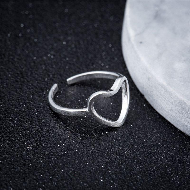 Silver Color Semplice anello da donna Rame liscio anello aperto anello cuore geometrico gioielli regalo per il compleanno della ragazza