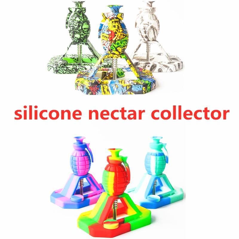 Granade forma silicone néctar colecionador inquebrável silicone tubulação de fumo néctar kits com ponta de titânio de 14mm