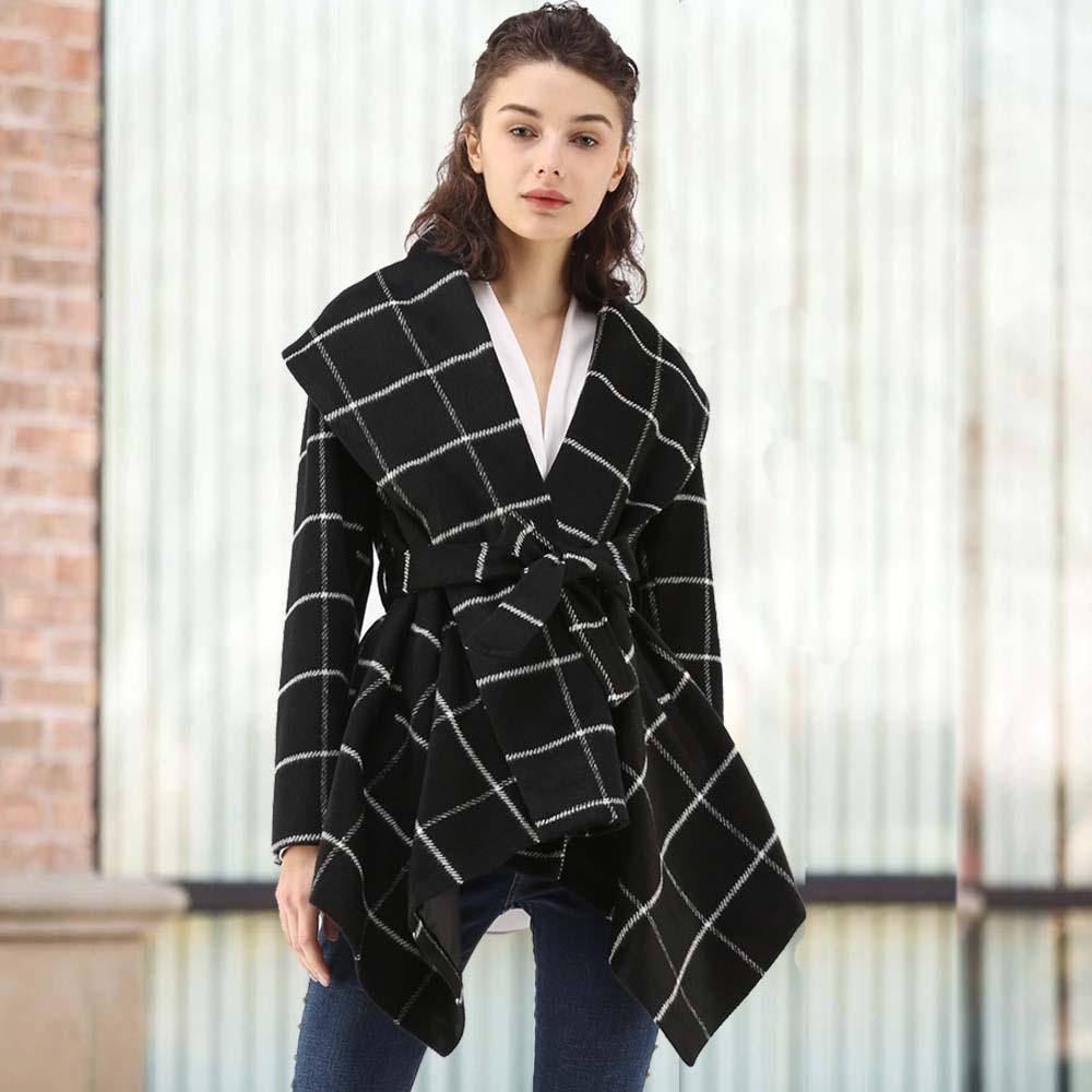 Kadın Ceket Kemer ile Sonbahar Ve Kış Moda Uzun Yün Ceket Avrupa ve Amerikan Tarzı Bayan Yaka Boyun Trençkot Palto S-XL