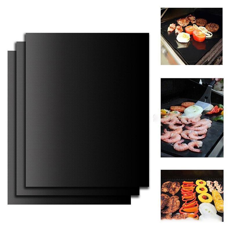 غير عصا شواء شواء حصيرة سميكة دائم 33 * 40 سنتيمتر شواء الشواء حصيرة قابلة لإعادة الاستخدام لا عصا bbq شواء حصيرة ورقة نزهة الطبخ أداة Z607