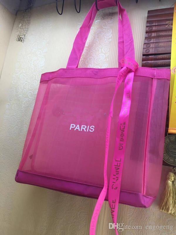 Novo! Caso Pink Clássico Shopping Bag com Fita Moda Estilo Viagem Bag Mulheres Mulheres Saco de Lavagem Cosméticos Makeup Armazenamento Malha Caso de malha