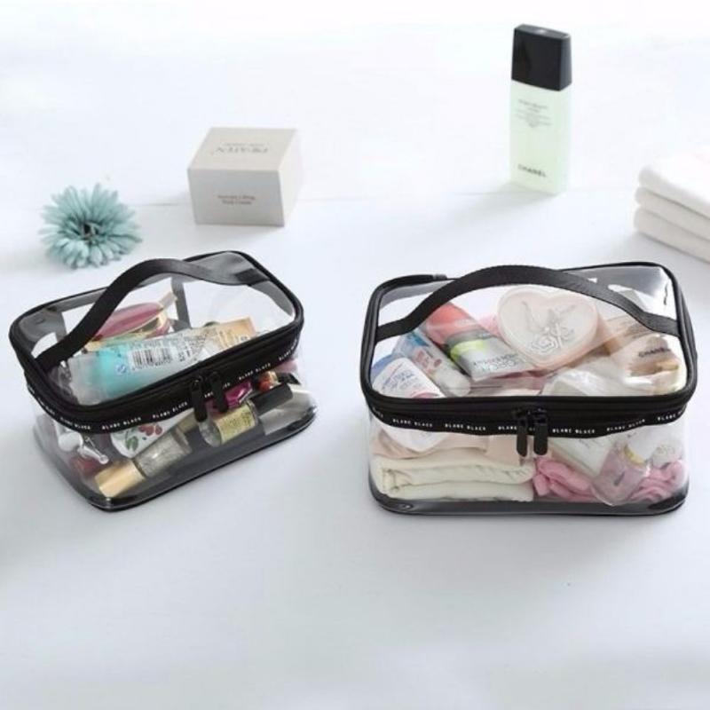 Transparent And Cosmetic Semicircle TPU Portable American Travel European Printed Bag Make-up Wash Portable Bag 3-piece Set Ghhdi