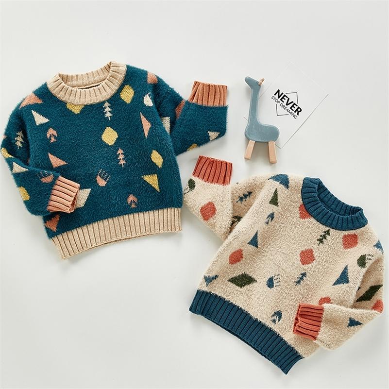 Осенние девочки для девочек мальчики вязаный свитер малыш для девочек мальчик повседневная мультфильм теплые хлопковые свитера дети пуловеры свитеров 201216