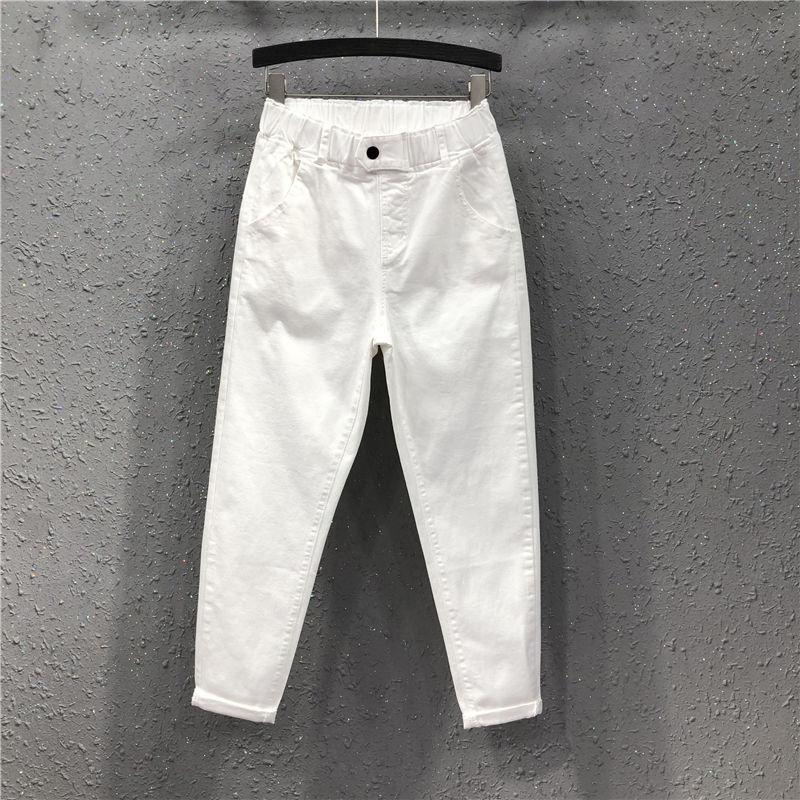 Spring Summer Women Women Calças de comprimento do tornozelo Plus Size Solid Cotton Denim Solto Harem Calças Branco Calças de brim elástico preto M-3XL D68