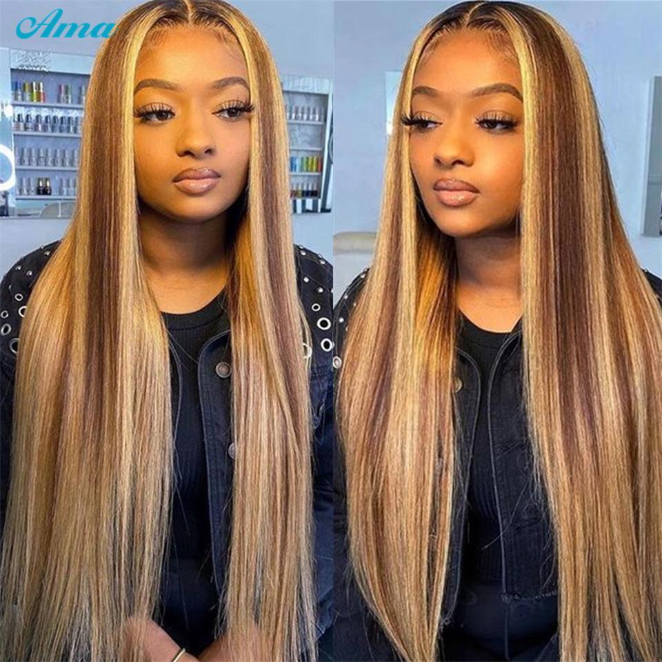 Ombre destaca la parte media de pelucas de cabello humano recto, miel rubia marrón parpadea profunda peluca de pelo para mujeres negras 150% densidad 22 pulgadas