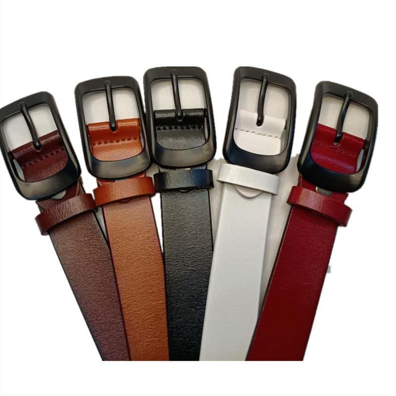 Hebilla de cuero Pin 3.0 para mujeres Versátil Moda simple Malla Cinturón Rojo