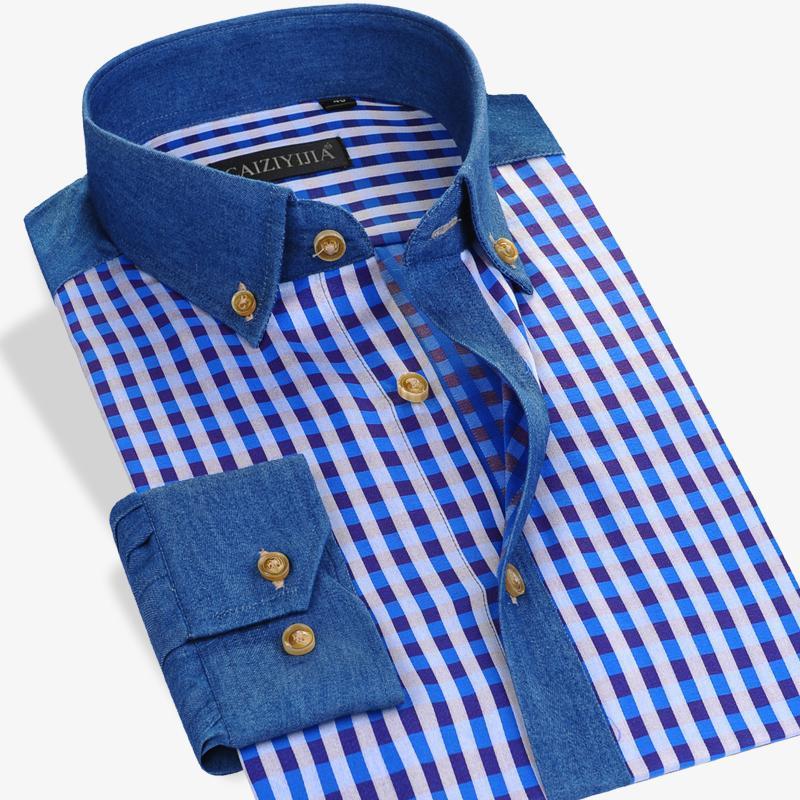 Estándar informal de vestir a cuadros Camisa de leñador colores contrastantes Hombres camiseta de manga larga 100% algodón fino con botones en la tapa del collar camisas