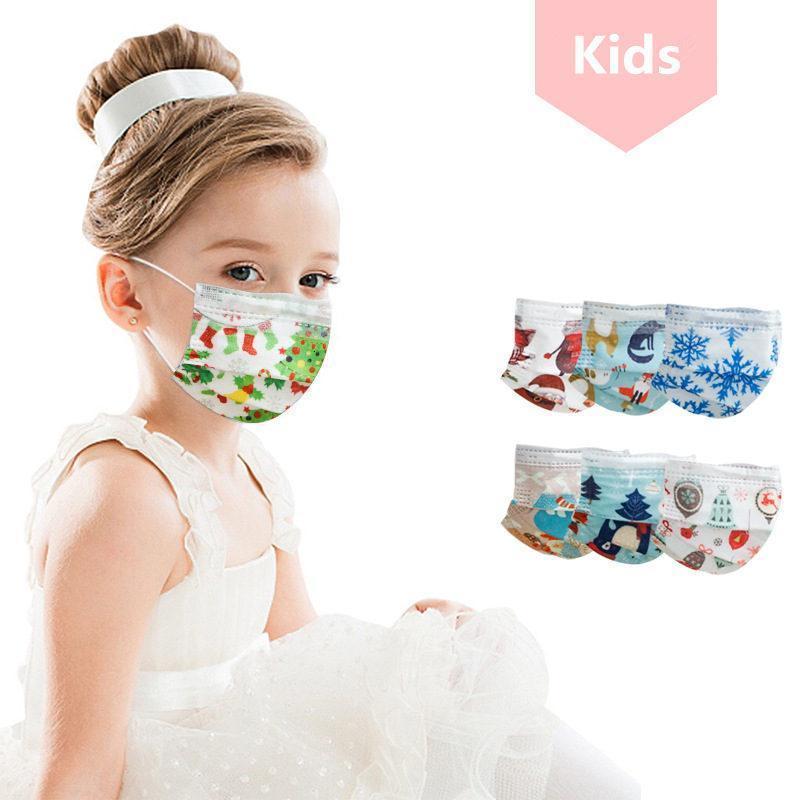 2021 الأسهم الاطفال كارتو المطبوعة المتاح الوجه أقنعة مكافحة الغبار غطاء الفم غير المنسوجة عيد الميلاد حزب أقنعة FY0106
