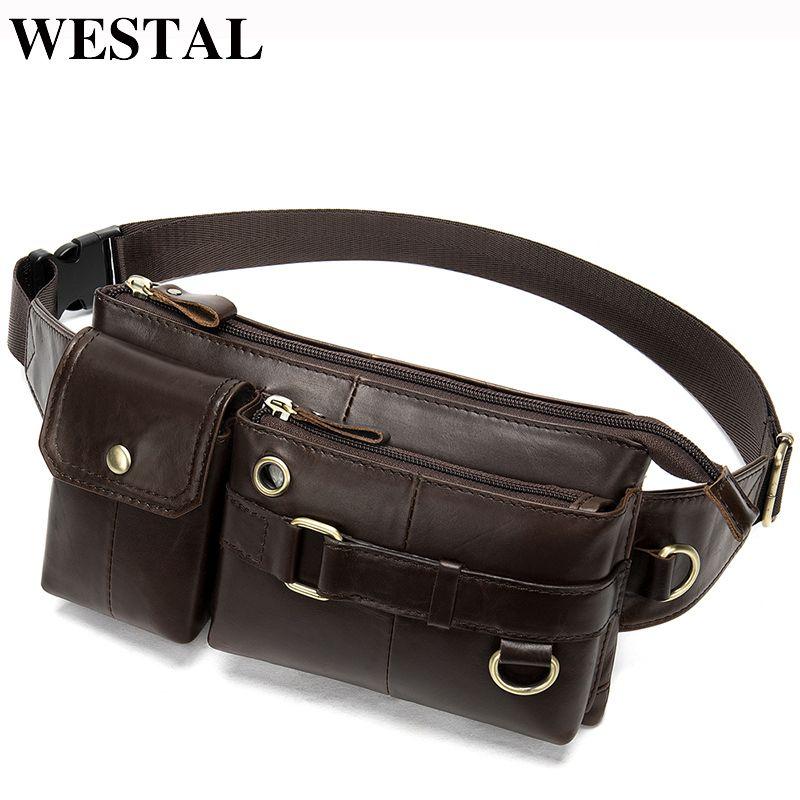 WESTAL Men Waist Bag Genuine Leather Men's Belt Bag Male Travel Waist Packs Male Fanny Pack for Phone Hip Money Bag Belt 8637