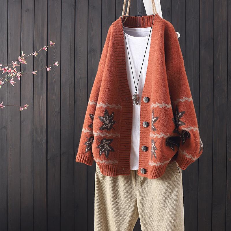 V-образным вырезом клен листьев ретро вязание кардиган 2020 осень новый свободный свитер куртка женская кнопка