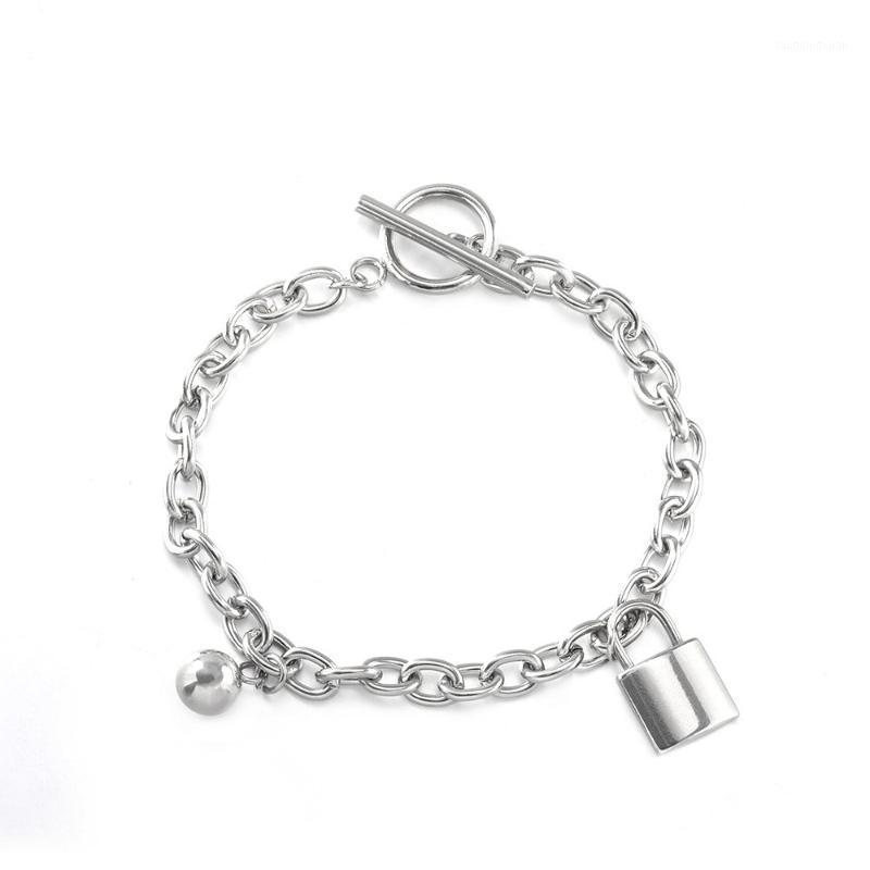 Braccialetto in acciaio in acciaio in titanio Piccolo braccialetto di serratura e catena in argento charms per la produzione di gioielli1