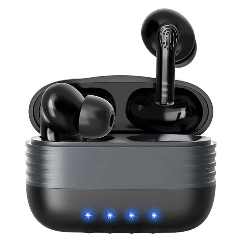 M30 Bluetooth 5.0 Headphones with Mic True Wireless Earbuds Noise Reduction In-Ear Headset for Work, Workouts(Black)