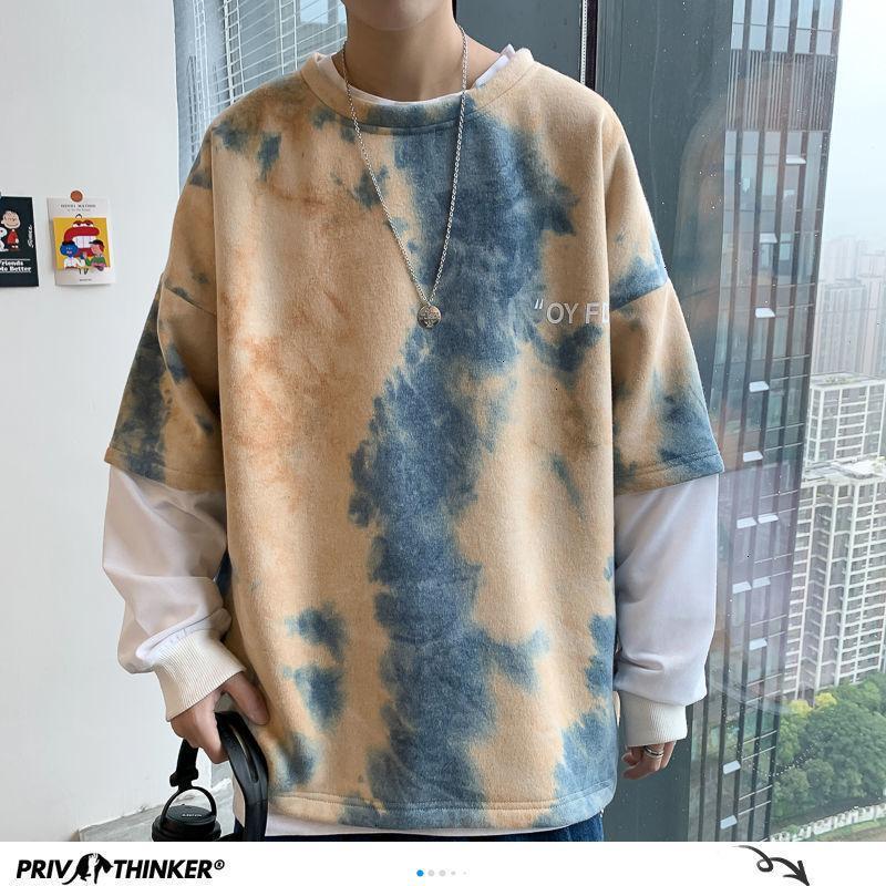 PrivaChanker Style Korean Tie Dye Stampato con cappuccio da uomo 2020 Felpe con cappuccio da uomo autunno moda uomo colorato maschio hip hop top