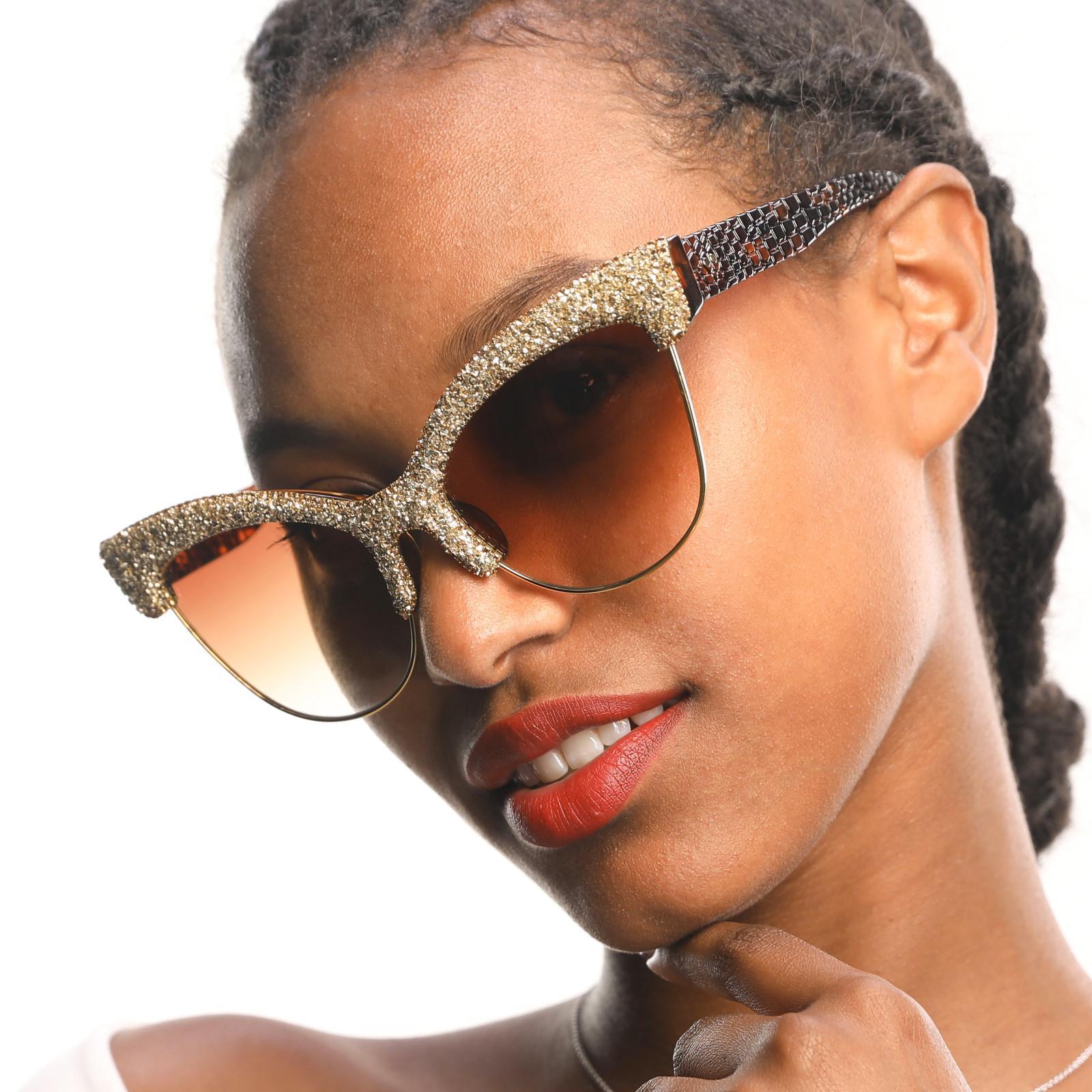 2019 gafas de sol de lujo Gafas de sol Vintage Vintage Eviertas de sol de gran tamaño para hombres Patrón de piel de cocodrilo semi sin rimo de piel de alta calidad J1211