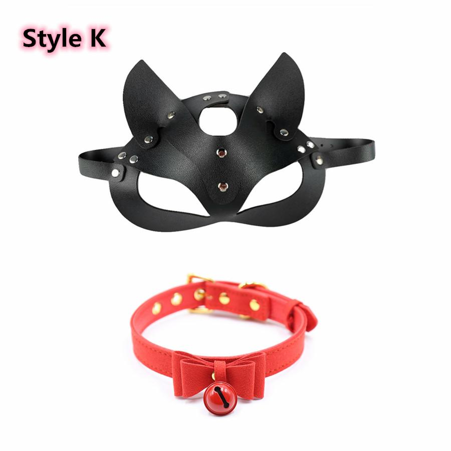 Le orecchie di gatto Donne Cosplay sexyy in pelle nera rivetto in pelle nera mezza faccia a metà faccia maschera con collo del collo per il fetish masquerade carnival a sfera