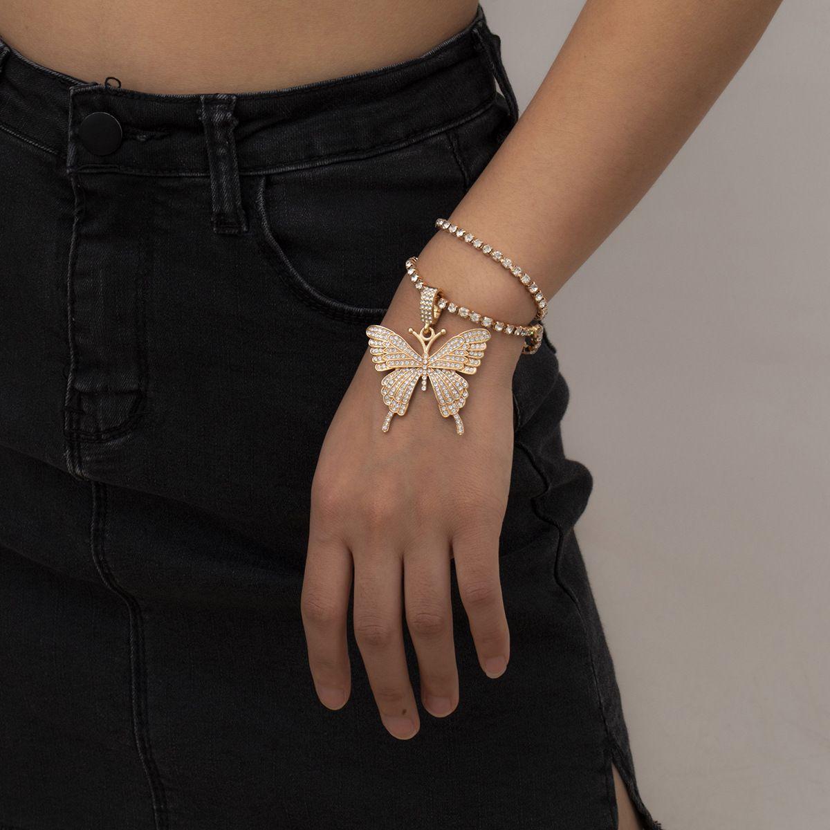Big Braccialetto della catena di metallo di stile del punk della farfalla di cristallo per le donne femminile dell'annata dei braccialetti del collegamento del colore dell'oro dei braccialetti di modo dei braccialetti