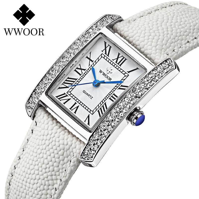 Zegarek Damski 2020 moda pulseira relógio mulheres wwoor famoso marca senhoras quadrado relógios de luxo diamante branco couro xfcs box j1205